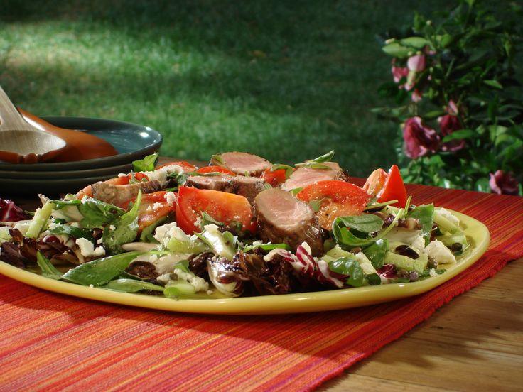 Pork Tenderloin Marinated in Garlic, Lemon and Oregano with Greek Salad from FoodNetwork.com