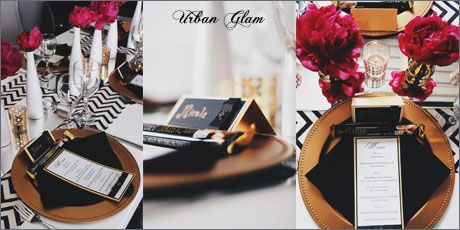 Urban Glam Menu and Name Tag - d3tinvitations  Www.d3tinvitations.co.za  #wedding stationery #wedding menu urban glam #wedding escort cards urban glam #wedding old & black table decor & stationery