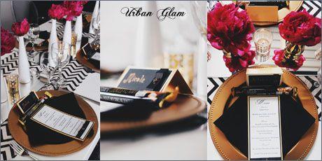 Urban Glam Menu and Name Tag - d3tinvitations  Www.d3tinvitations.co.za  #wedding stationery #wedding menu urban glam #wedding escort cards urban glam #wedding old & black table decor & stationery