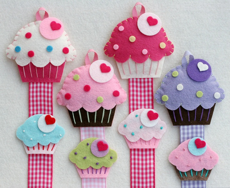 Cupcake Hair Clip Holder Set comes with Felt Cupcake Snap Clip .. $20.00, via Etsy.