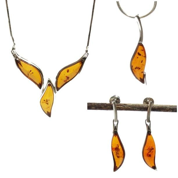 Lovely leaf shaped amber jewellery. Perfect for adding a touch of elegance to…