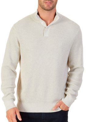 Nautica Men's Buttoned Shawl Collar Sweater - Oatmeal Heather - 2Xl