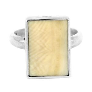 Mammoth tusk nautical ring in mammoth tooth and sterling silver - $960