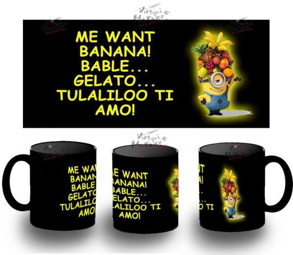 Taza Negra Minions Frutas Fruits Minion Black Mug Tazza Tasse Coupe Mug Gru - Bekiro