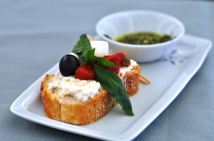 Korean Air First Class Dining Review bruschetta