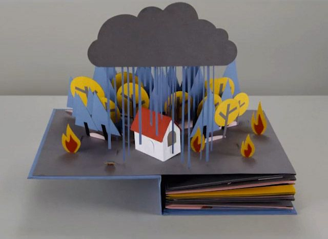Paper Craft Animation of a Water Cycle Paper engineer Helen Friel created this remarkable paper craft stop motion animation of a water cycle, which takes place in a pop-up book, with collaborators Chris Turner and Jess Deacon.