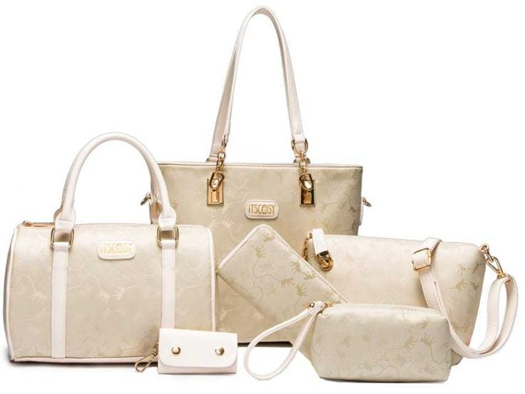 6Pcs Set Fashion Women Shoulder Bag , Handbag Crossbody Bag white set bag Top 6 in 1 , one price you could get 6 piece,2handbag  1crossbody  1purse  1wallet 1keychian Suitable for you in dinner party, shopping or gathering. fabric lining. Classic gold hardware Removable and adjustable shoulder strap Embossing process with bright gold-tone hardware accents Womens 6 Pcs Shoulder Bags Top-Handle Handbag Tote Purse Set 6 in 1 package only for you ladies! Convertible Bag With An Adjustable Strap…