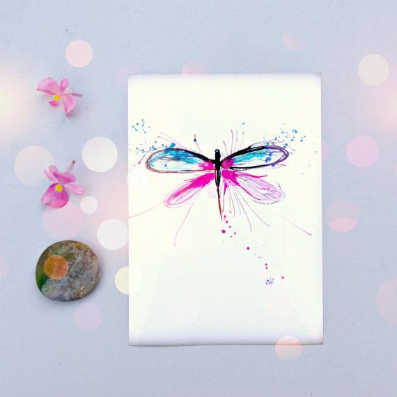 Dragonfly Art Print Pink & Blue Wall Art for por PeaceofViolet, $9.00