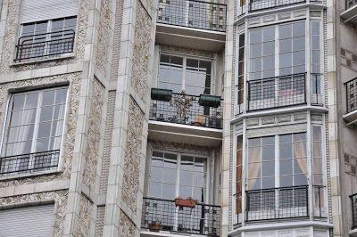 Auguste Perret (façade), immeuble d'habitation (1903) situé au 25 bis, rue Franklin, Paris 16e