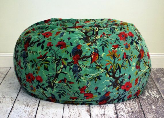 Blue Green Velvet Tropical Bird Print Bean Bag Chair