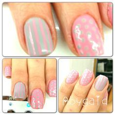 Gelish decorado en color rosa y gris