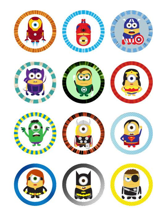 Minions Super Heroes Printables 2 Circle for by CuteChicDesigns, £2.00 @marirenee2 @krissyc4t