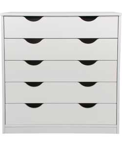 Pagnell 5 Drawer Chest - White.Argos £79.99