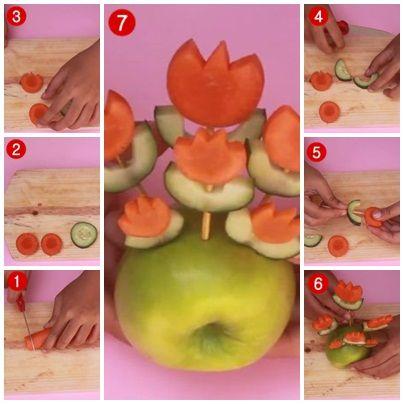 Cara Membuat Garnish dari Sayuran dan Buah (Bentuk Bunga)