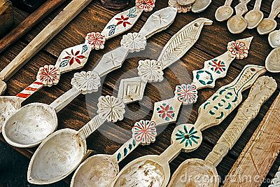 Wooden spoons carved with traditional motifs Romanian.
