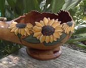 Hand Painted Gourd Sunflower Bowl Botanical Garden. $42.95, via Etsy.