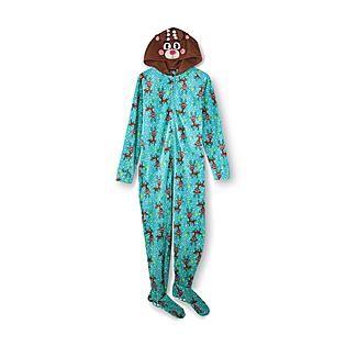 Joe Boxer- -Women's Christmas Footie Pajamas - Reindeer