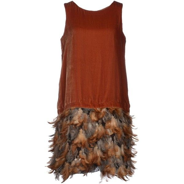 Charabia Paris Short Dress ($72) ❤ liked on Polyvore featuring dresses, brown, short dresses, sleeveless short dress, zipper dress, feather dress and short feather dress