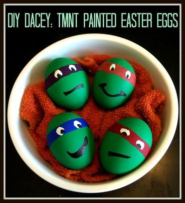 Teenage Mutant Ninja Turtle dyed and painted Easter eggs. Check the blog for instructions + hot tips.