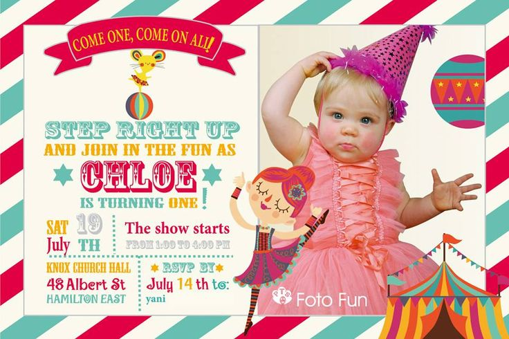 Little Chloe´s invite to her first Birthday party, Vintage Circus. Design: Lucía Pastor, photo from PT´s Foto Fun