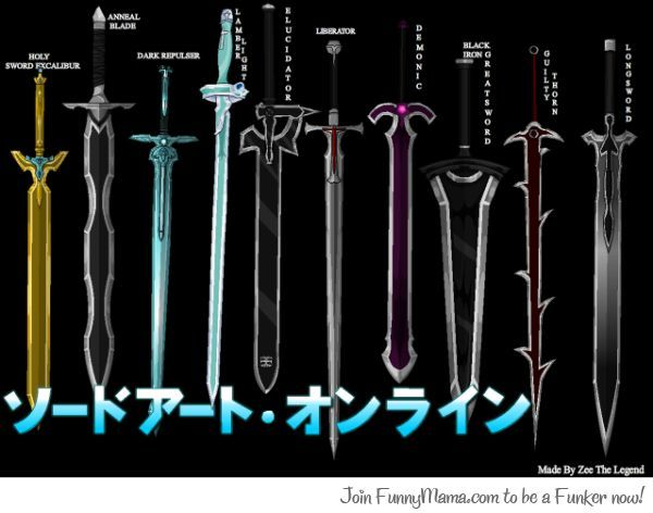 The whole set of Swords used In Sword Art Online - COSPLAY IS BAEEE!!! Tap the pin now to grab yourself some BAE Cosplay leggings and shirts! From super hero fitness leggings, super hero fitness shirts, and so much more that wil make you say YASSS!!!