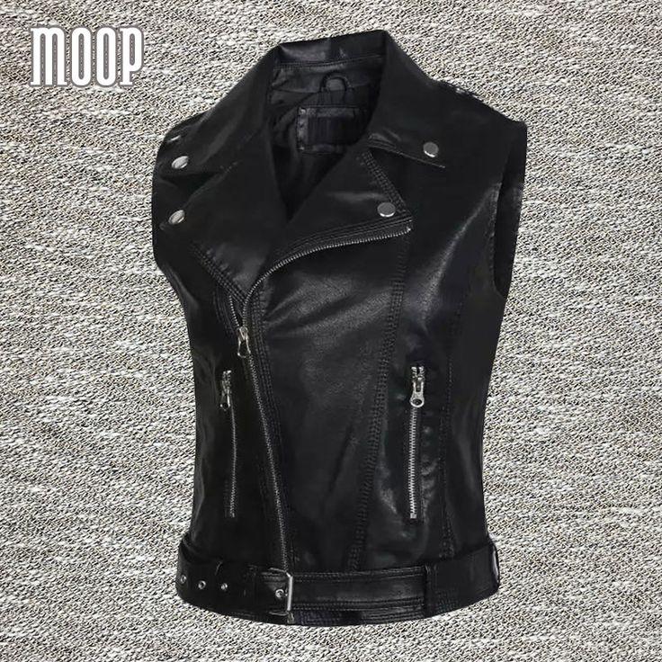 Черный PU кожаный жилет стержня кожаная куртка женщин жилет off - центр почтовый разрез весте роковой жилеты mujer colete gilet LT151