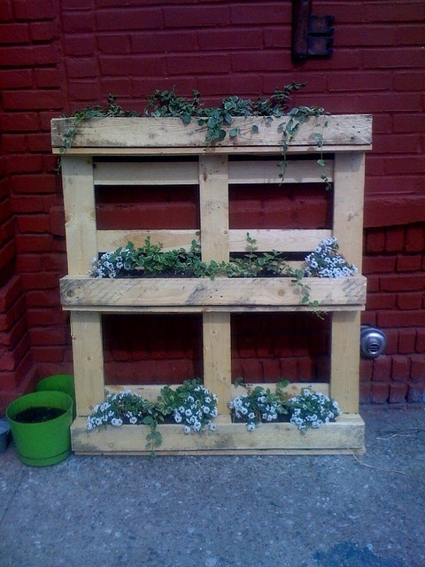 pallet.. these would look adorable in front of my house with an old wagon wheel between two of them!