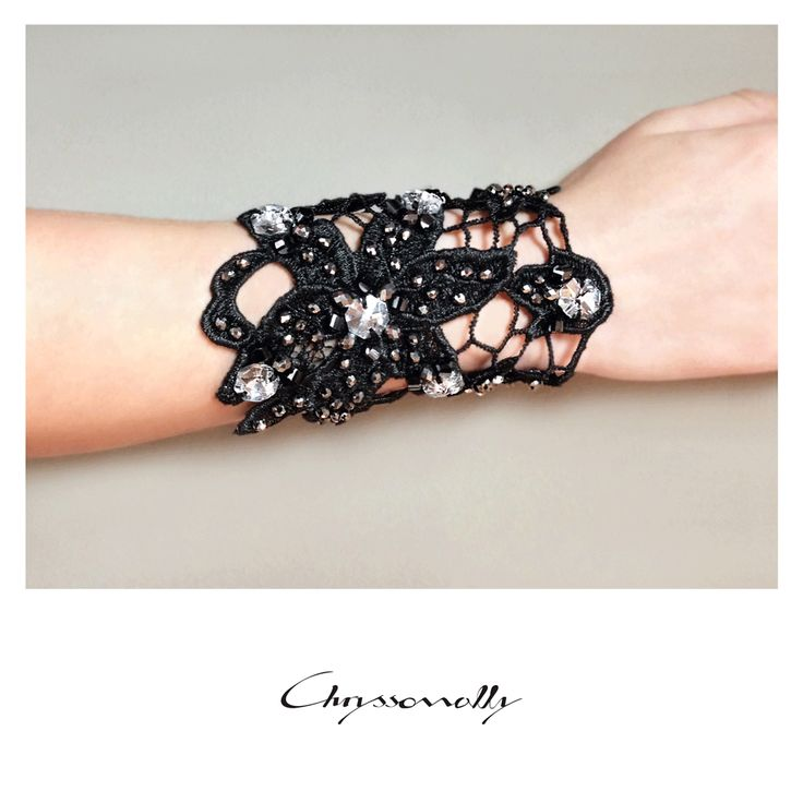 JEWELRY | Chryssomally || Art & Fashion Designer - Knitted black lace cuff bracelet with handsewn black, silver and white crystals