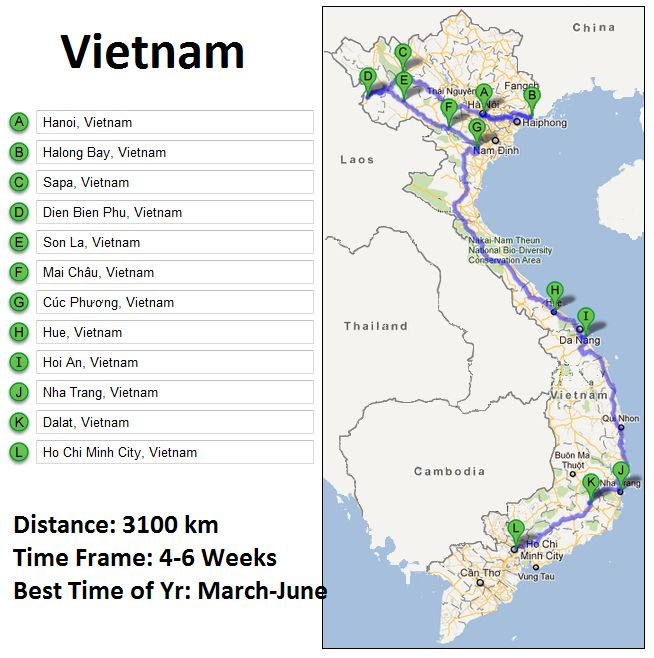 Vietnam Travel Route - if I miss out a couple of between stops, could do in 2 weeks?