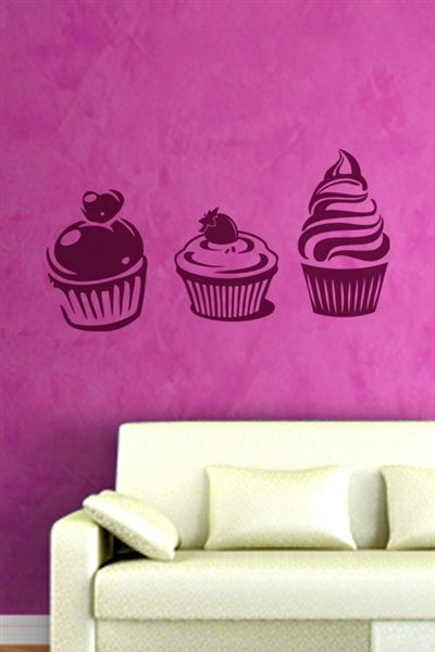 Cupcakes Wall Decals, Wall Stickers Art Without Boundaries-WALLTAT.com