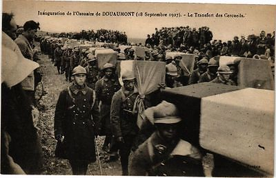 WWI, Verdun, 1927.   Inauguration de l'Ossuaire de Douaumont- Transfer of the first 52 coffins to the crypt.