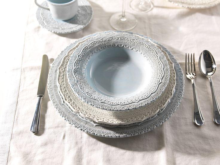 Elios ceramics, tableware available in cream and blue color. Presenting By Tatjana Kern  http://www.bytatjana.com/c19/Finezza