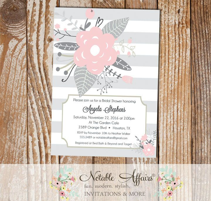 fun modern wedding invitations%0A Gray and Light Pink Flower Posies Modern Floral Bridal Shower invitation   Wedding