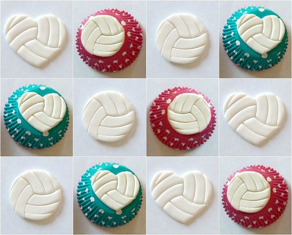 Volleyball Cupcake Topper by MissSweetSends on Etsy, $12.95