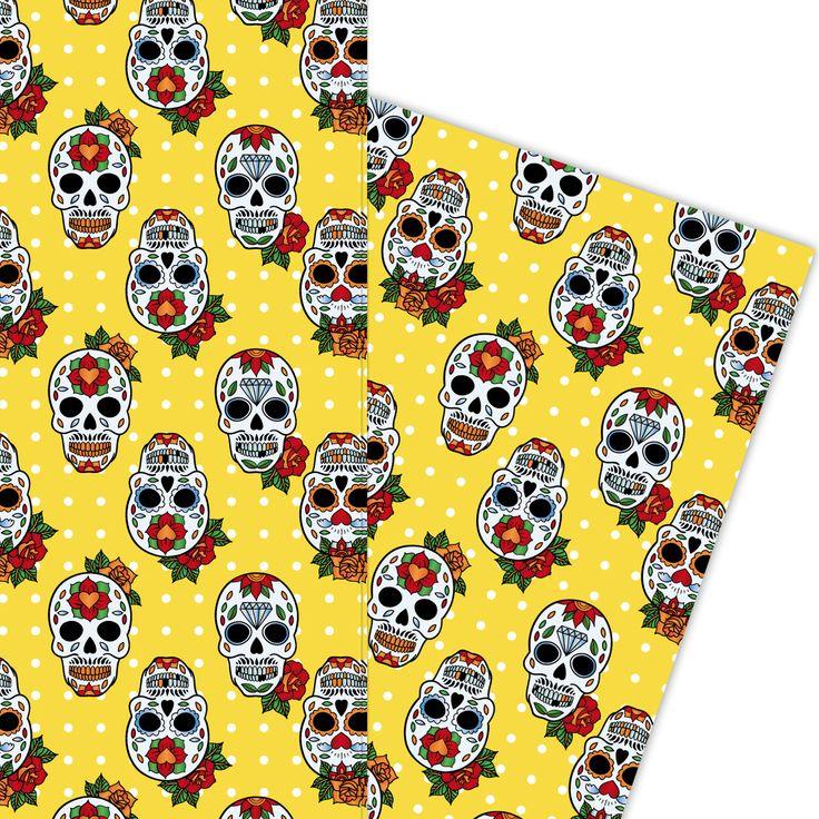 Trendiges Geschenkpapier mit mexikanischen Totenköpfen auf Pünktchen (4 Bögen, 32 x 47,5 cm), auf gelb 1