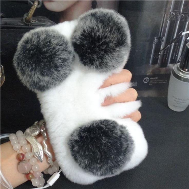 Kawaii Panda Fluffy Soft Rabbit Fur Case Cover for iPhone 7 4.7 inch