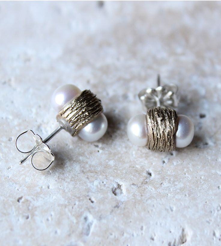 Rough textured to look like tiny bird nests, these pearl earrings are unique.