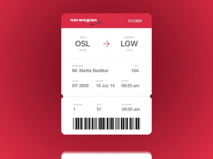Dribbble - DailyUI #024 - Boarding Pass by Mattis Bødtker