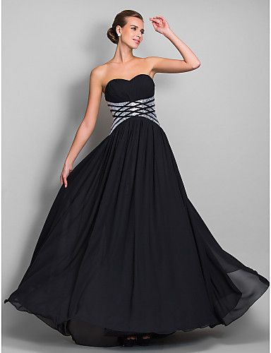 TS Couture® Formal Evening / Military Ball Dress - Black Plus Sizes / Petite Sheath/Column Sweetheart Floor-length Chiffon 2016 - $109.99