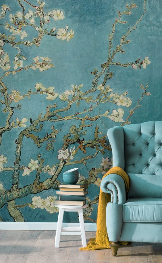 Bring an air of sophistication to your interiors with this classic art mural. Van Gogh's beautiful painting of the blossoming almond branches introduces calming blue tones to your home. Pair with mustard accents for a complimentary colour scheme.