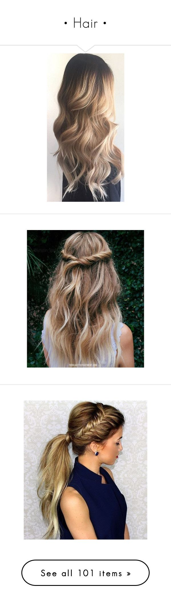"""• Hair •"" by westcoastbabes ❤ liked on Polyvore featuring beauty products, haircare, hair styling tools, blow dryers & irons, hair, curling iron, hairstyles, accessories, hair accessories and cabelo"