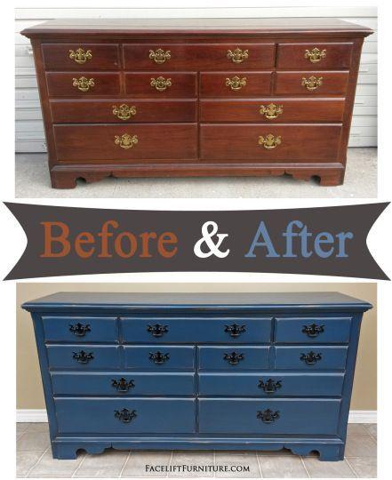 dresser in distressed denim blue before after facelift rh pinterest com