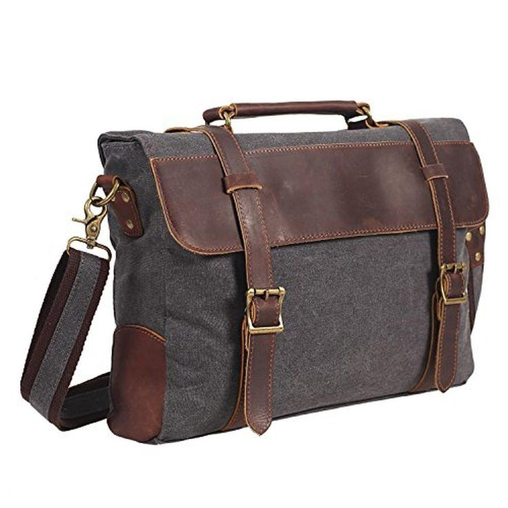 "DesertWolf Vintage Canvas Messenger Leather Shoulder Bag - Traveling Briefcase - Fit 14"" Laptop, Deep Grey - Brought to you by Avarsha.com"