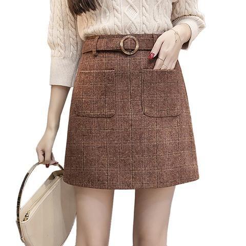 43d1bad69d1 2018 Autumn Winter Mini Skirts Womens High Waist Elegant Woolen Skirt  Casual Plus Size Warm Wool Plaid Skirts Women saias