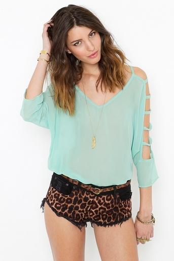 mintWoman Fashion, Mint Green, Cheetahs Shorts, Mint Tops, Chiffon Cutout, Animal Prints, Cutout Blouses, Mint Blouses, Cheetahs Prints