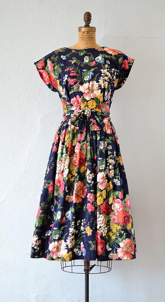 vintage dark floral cotton dress | Efflorescent Dress from Adored Vintage