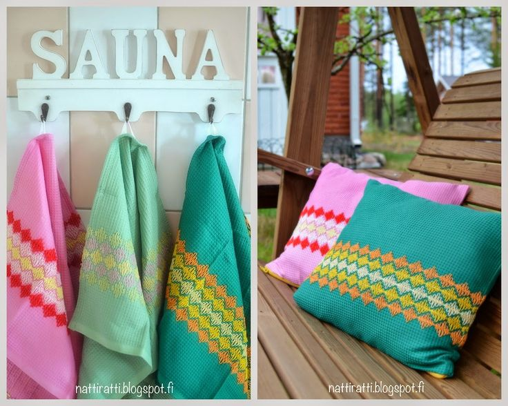 nätti rätti: waffle embroidery towels & pillows