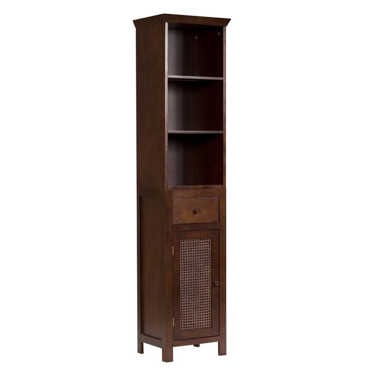 Elegant Home Fashions Cane 15-in W x 65-in H x 12-in D Cane Brown Composite Freestanding Linen Cabinet