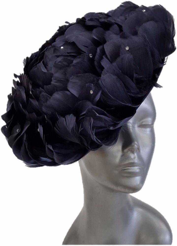 Swan Hat, Derby, Preakness, Church, Dress, Wedding- Feathered Navy Fascinator  #Swan #Fascinator #ChurchDressEverydayKentuckyDerby