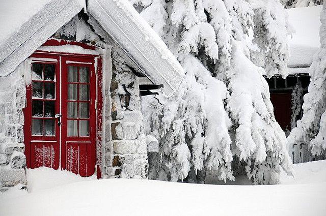 a Norwegian cabin in winter